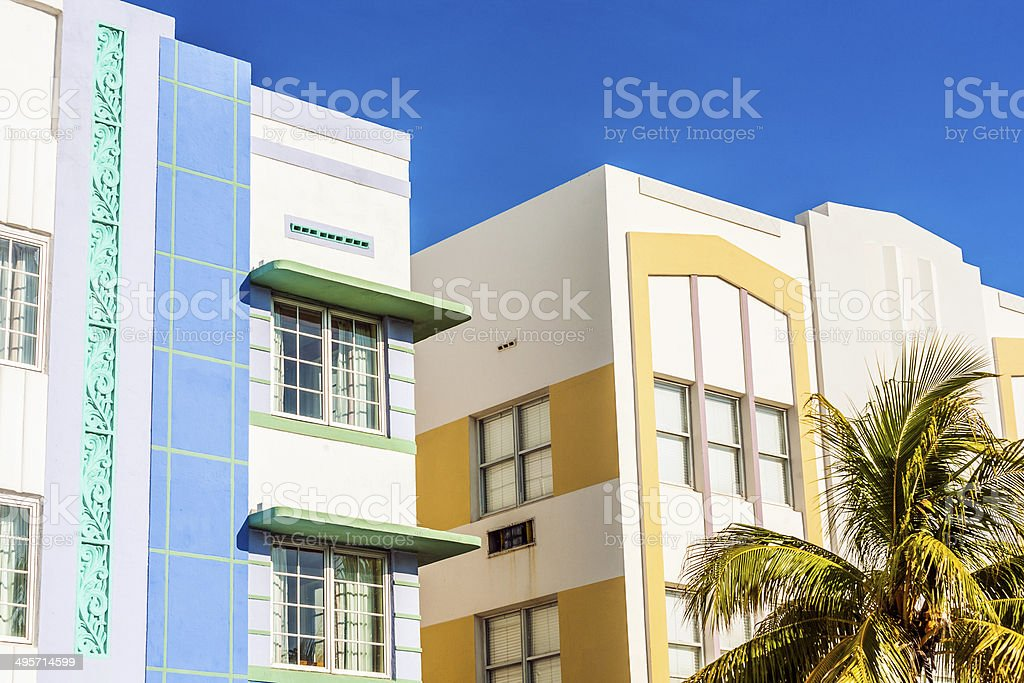 view at Ocean drive with art deco buildings stock photo