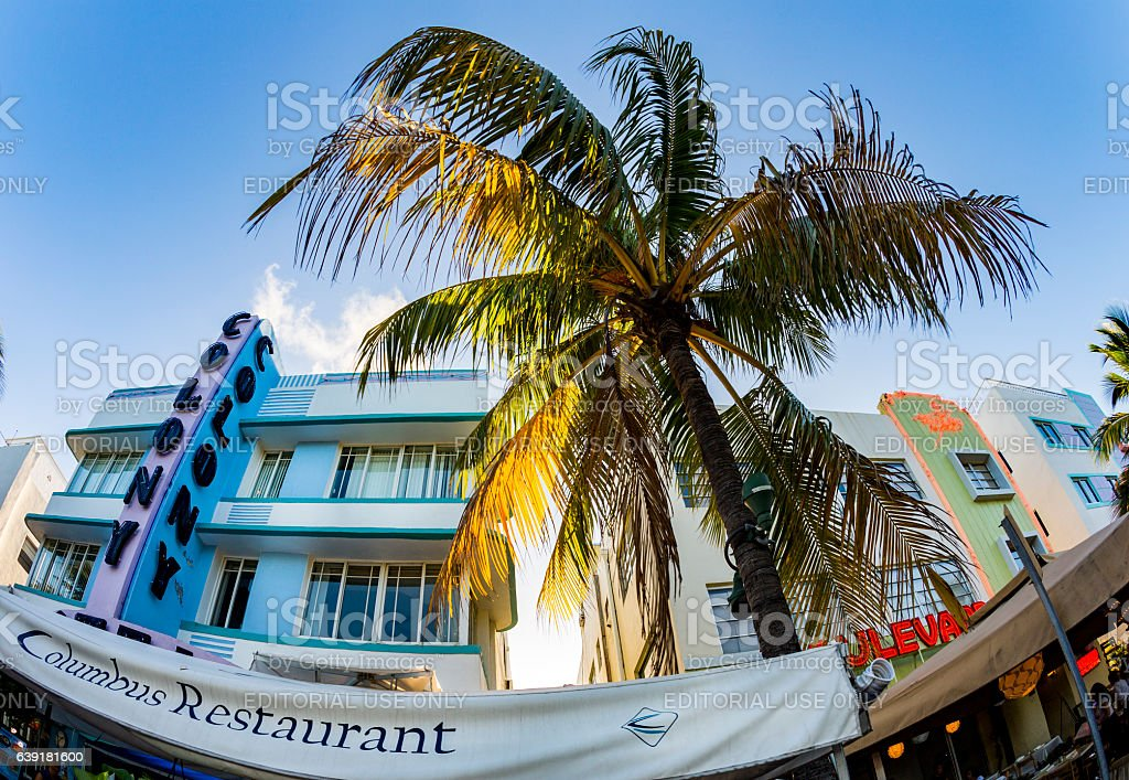 view at Ocean drive  with colony hotel stock photo