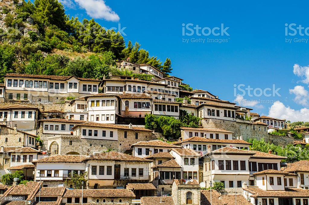 View at old city of Berat in Albania stock photo