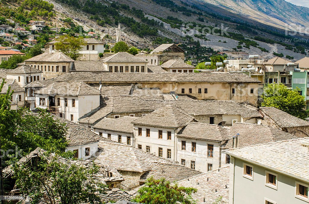 View at old city of Gjirokastra in Albania stock photo