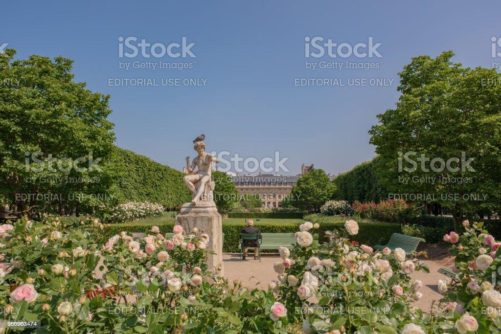 View at Palais Royal gardens in Paris stock photo