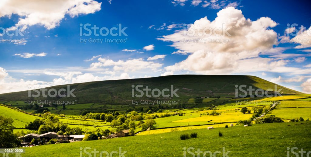 A view at Pendle Hill on Springtime stock photo