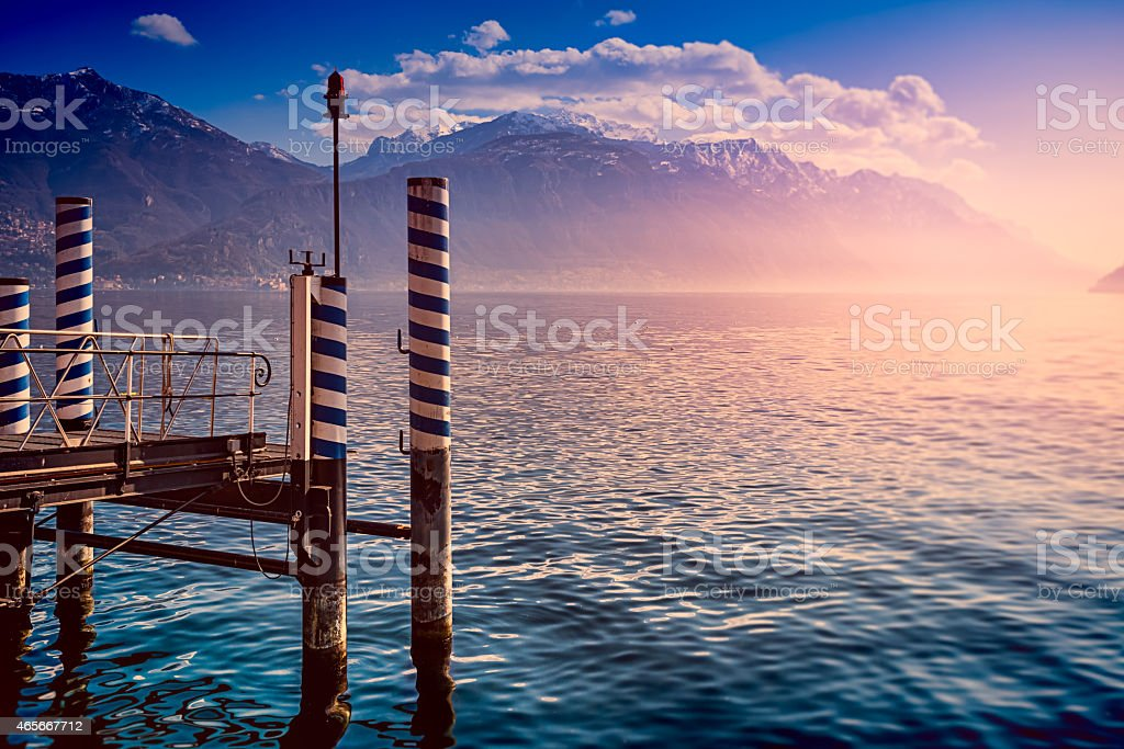 View at pier of Lake Como, Menaggio, Italy. stock photo