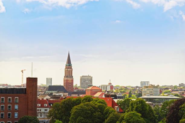 View at Saint Nikolai church in the city Kiel, Germany. stock photo