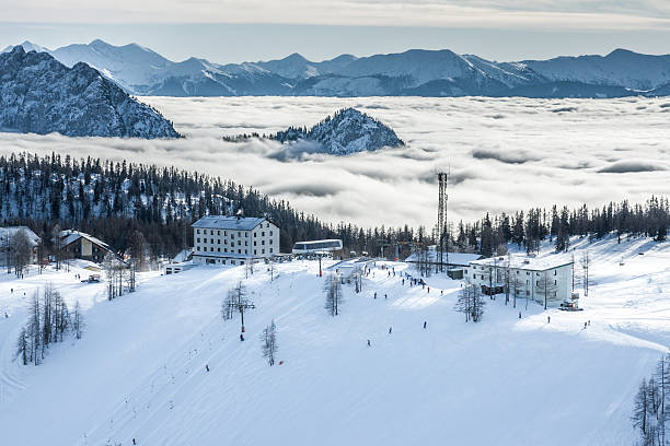 view at ski station - winter austria train bildbanksfoton och bilder