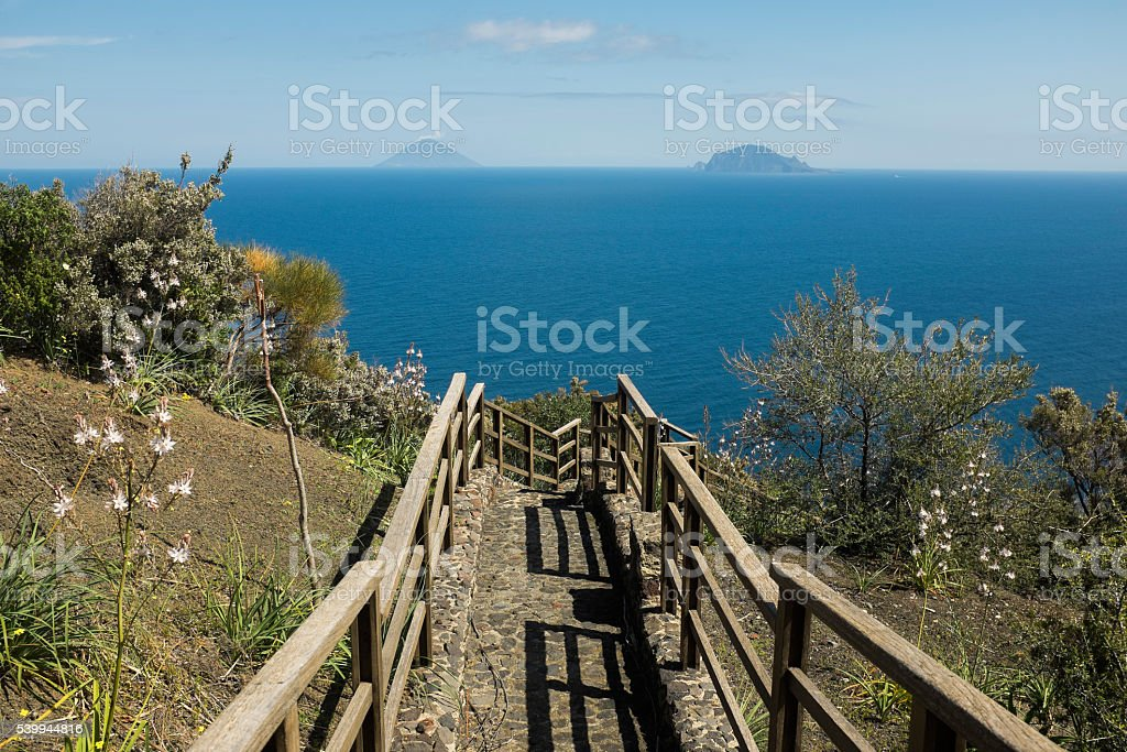 View at Stromboli and Panarea from Salina Island stock photo