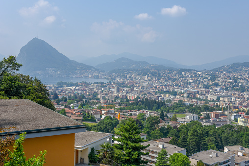 View at the bay of Lugano on Switzerland