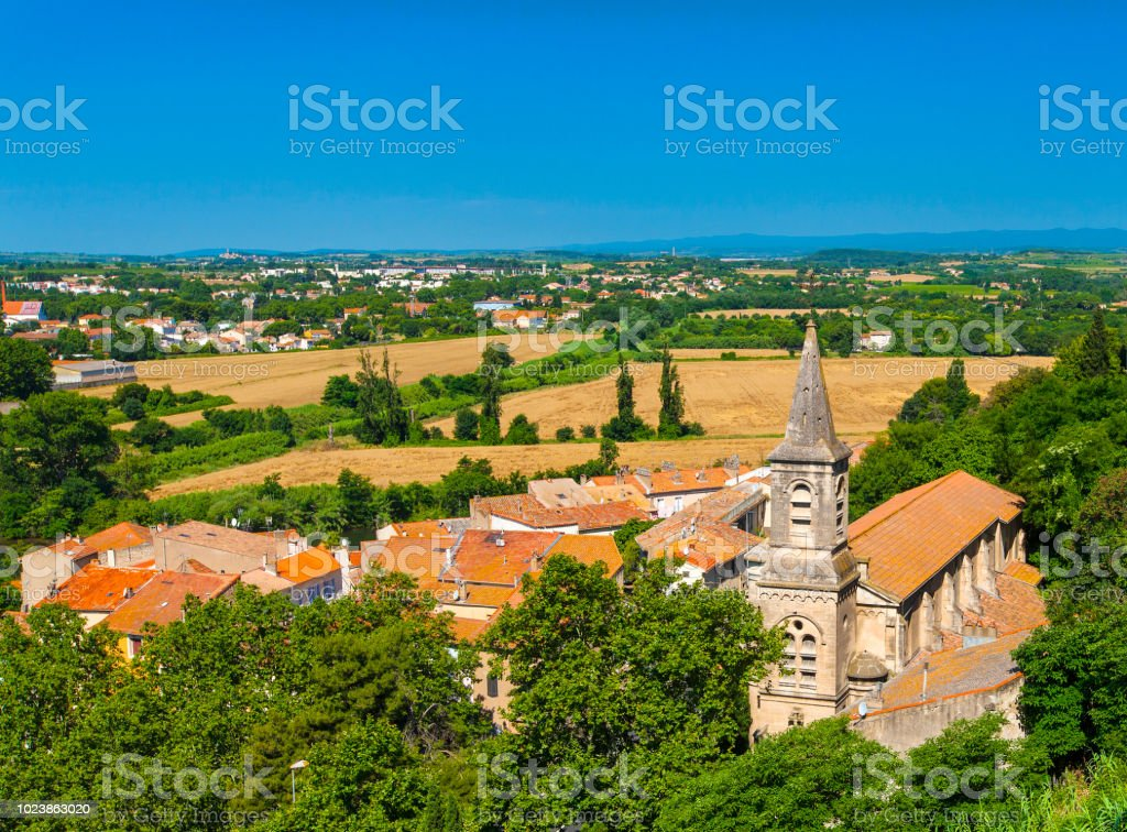 View at the Beziers city with St.Jude church stock photo