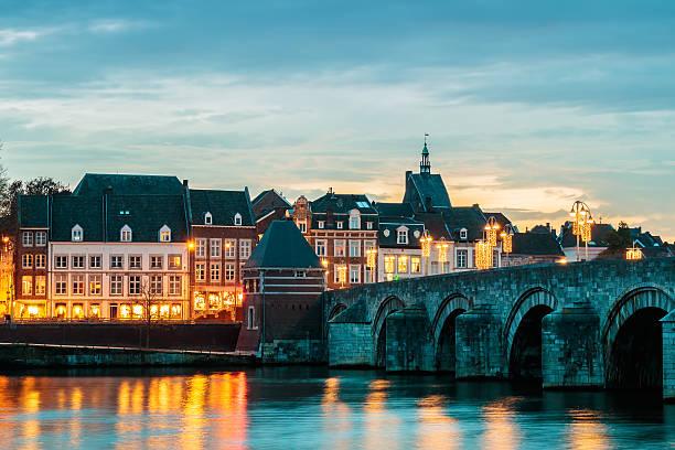 View at the Dutch Sint Servaas bridge in Maastricht stock photo