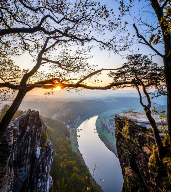 view at the famous bastei hills – Foto