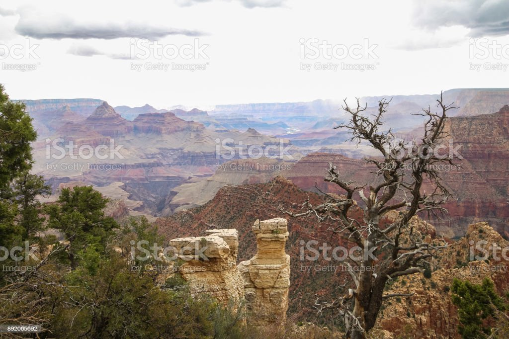 View at the Grand Canyon landscape with thunderstorm, Arizona