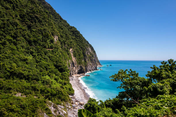 View at the Hualien coastline near Taroko Gorge National Park in Taiwan stock photo