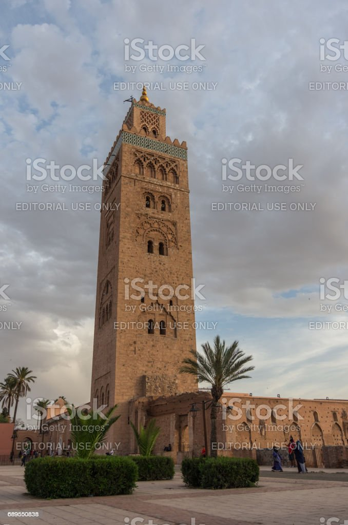 View at the Koutoubia Mosque with minaret in Marrakesh ,Morocco stock photo