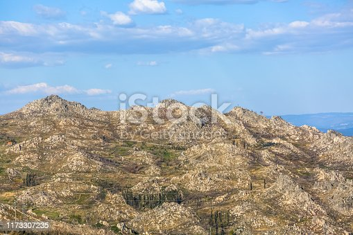 View at the mountains with fields and granitic rocks, on Caramulo mountains, in Portugal