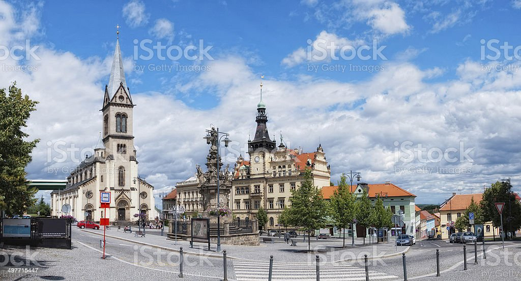 View at the old Europe square in Kladno city Czech stock photo
