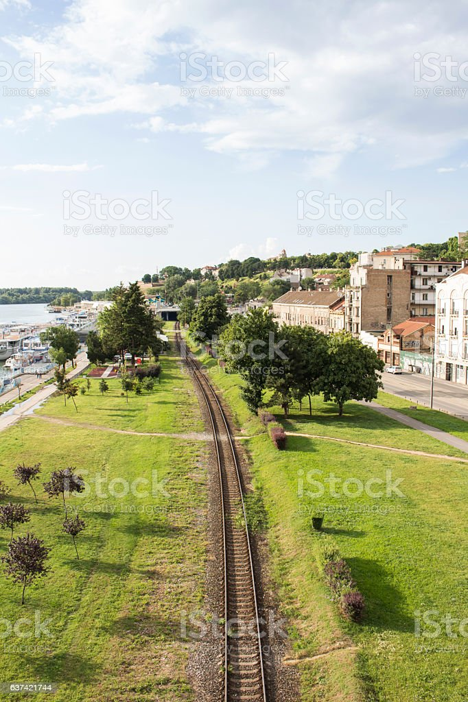 View At The Railroad, River And Sky From The Bridge stock photo