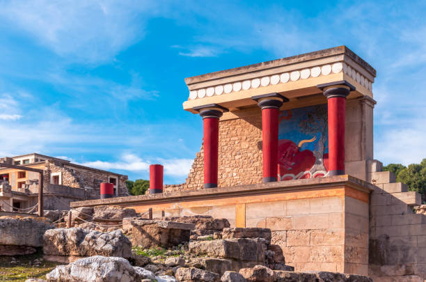View at the ruins of the famous Minoan palace of Knossos in Crete stock photo