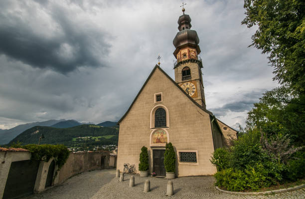 View at the St. Katherine church of Brunico in Dolomites View at the St. Katherine church of Brunico in Dolomites, Italy bruneck stock pictures, royalty-free photos & images