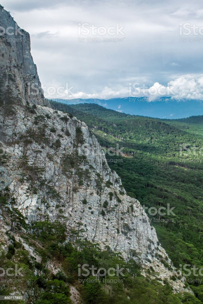 View at the top of Ai Petri mountain in Crimea, Russia stock photo