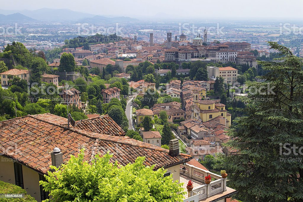 View at the upper city center of Bergamo, Lombardy, Italy royalty-free stock photo