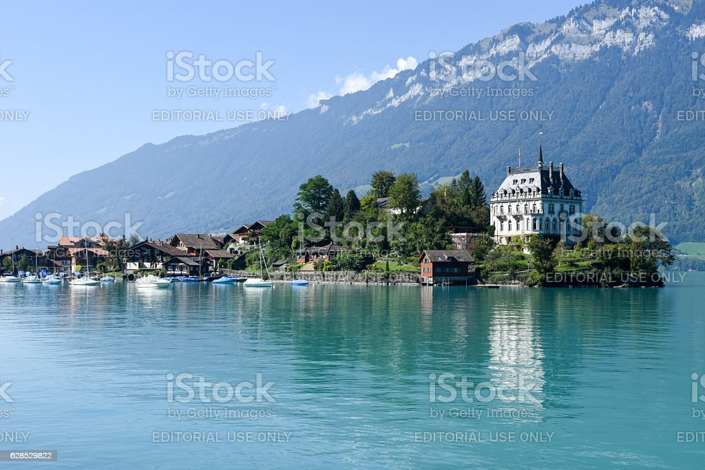 View at the village of Iseltwald on lake Brienz stock photo