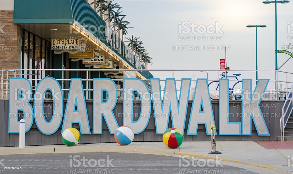 View at the Wildwood  boardwalk sign stock photo