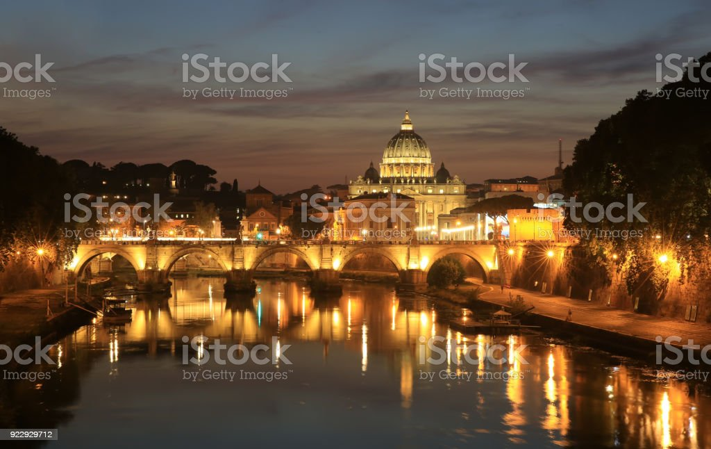 View at Tiber and St. Peter's cathedral in Rome, Italy stock photo