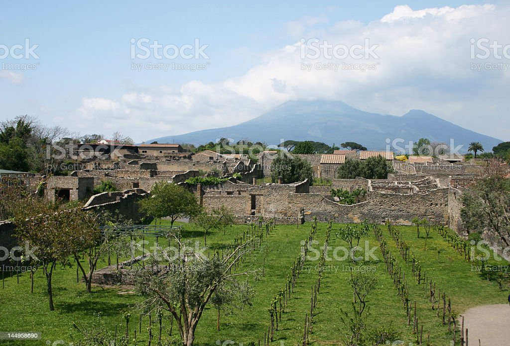 View at vesuvius from Herculaneum royalty-free stock photo