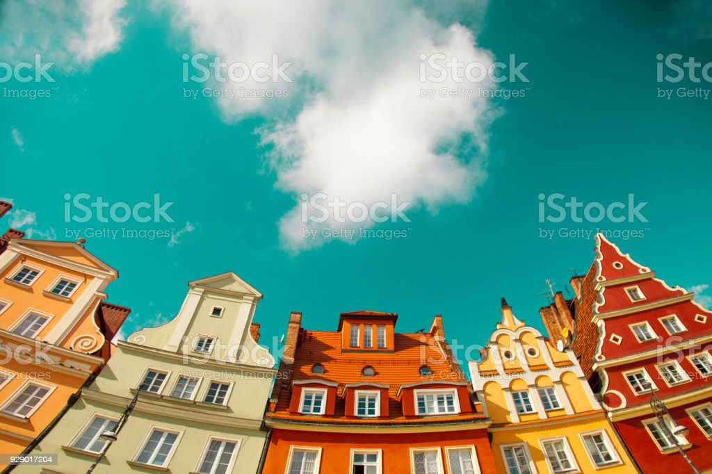 View at vintage style buildings at Wroclaw, stock photo
