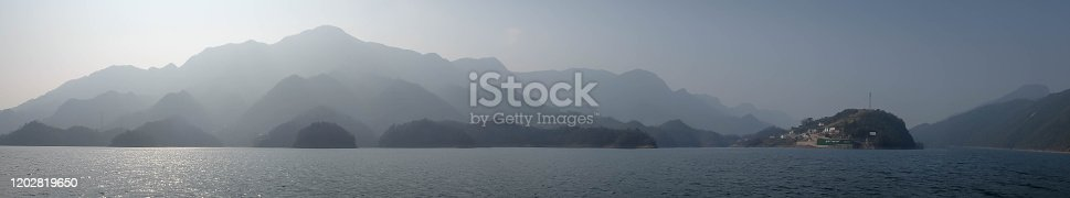 The panorama view at Yangtze river for the traveler along with the three gorges area, The part of the Yangtze River in Yichang city, Hubei province China. The tree goreges dam is the clectric biggest dam in the world.