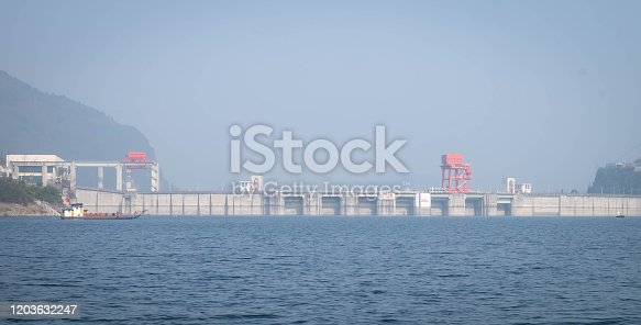 View at Yangtze river for the traveler along with the three gorges dam, The part of the Yangtze River in Yichang city, Hubei province China. The tree goreges dam is the clectric biggest dam in the world.