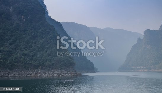 View at Yangtze river for the traveler along with the three gorges area, The part of the Yangtze River in Yichang city, Hubei province China. The tree goreges dam is the clectric biggest dam in the world.
