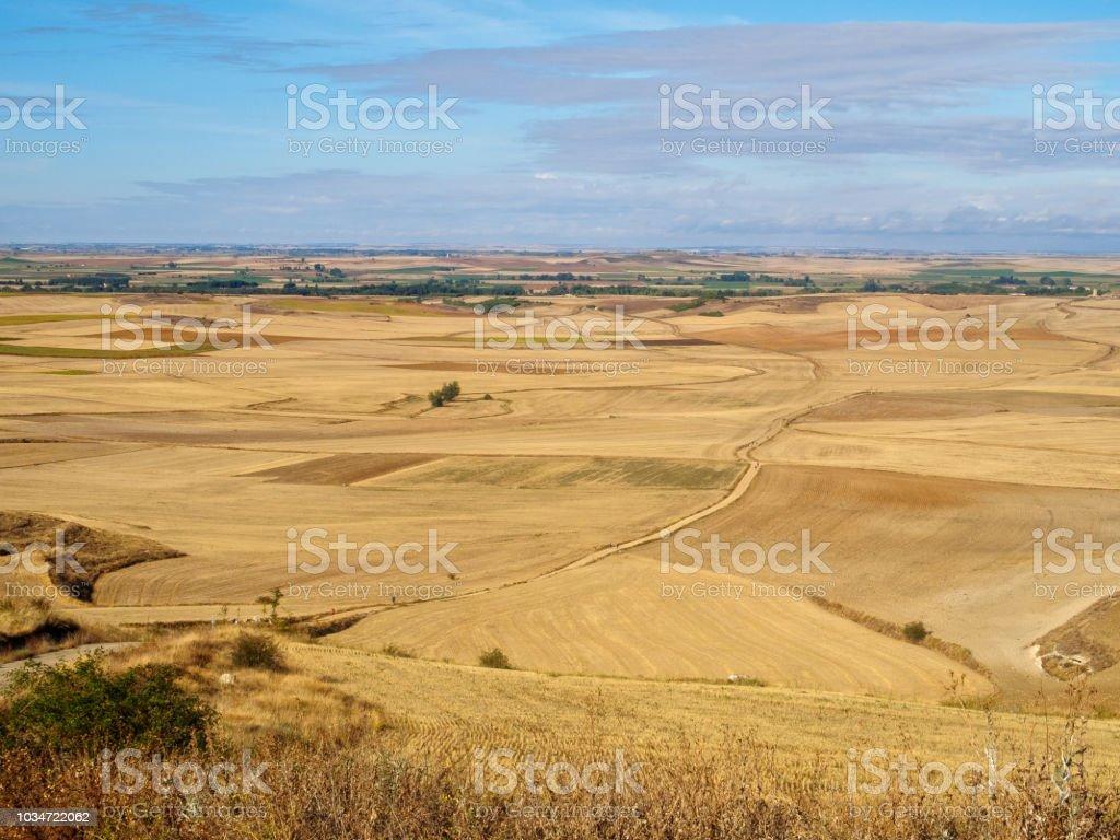 View backward from Alto Mestelares - Castrojeriz stock photo