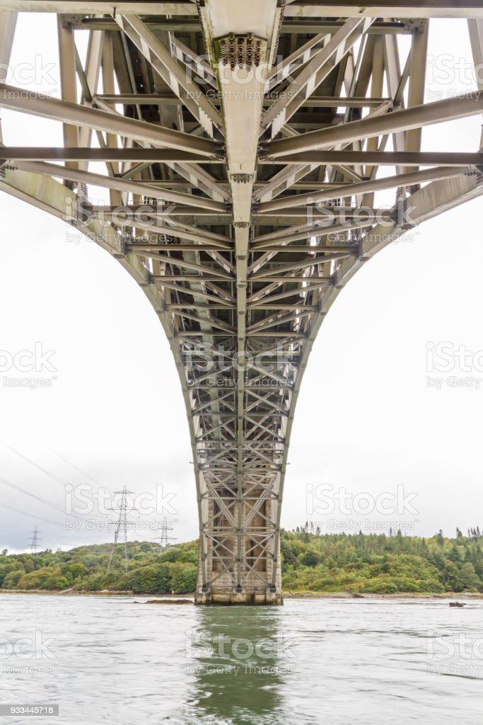 View beneath the Britannia bridge from below. stock photo