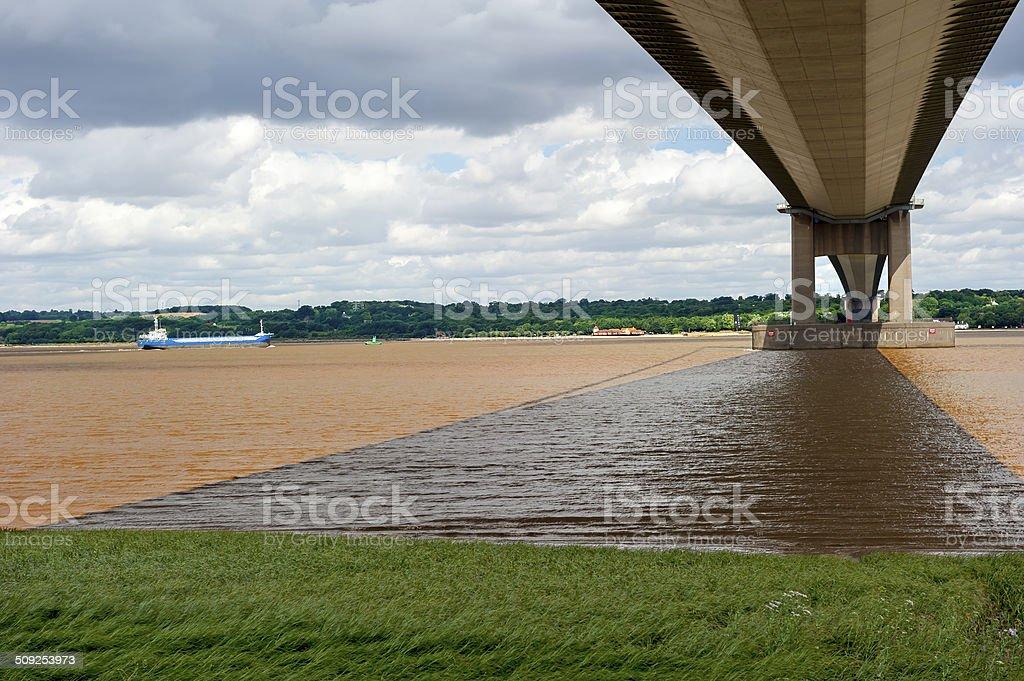 View beneath the Humber Bridge stock photo