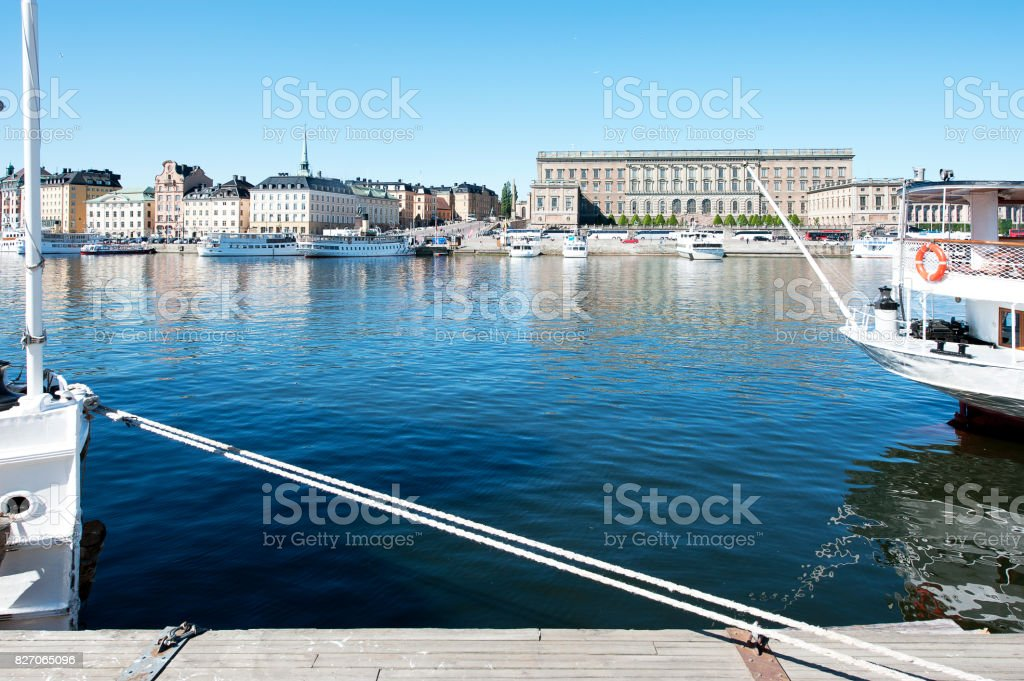 View between stem and stern, Stockholm, Sweden stock photo