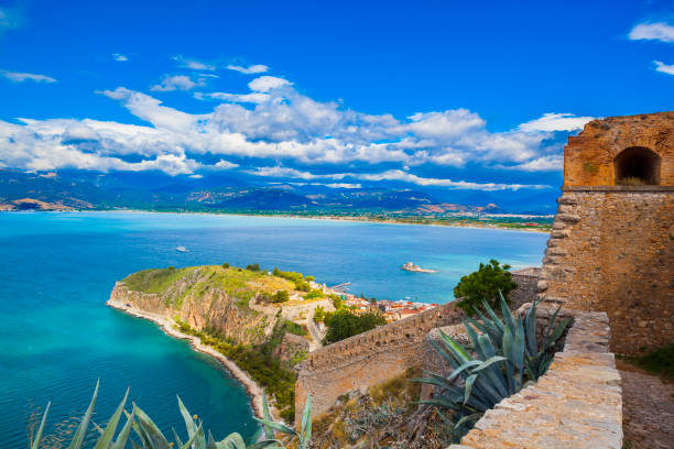View by the Ruins of fortress of Palamidi, Greece stock photo