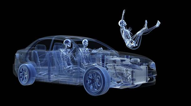 view car accident in x-ray - krockad bil bildbanksfoton och bilder
