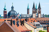 View cityscape and Marien Chapel of Wurzburg, Germany.