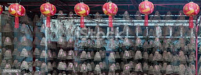 Paper red lanterns Buddhist Temple Chinese New Year. Chinese Incense Coil for Worship.