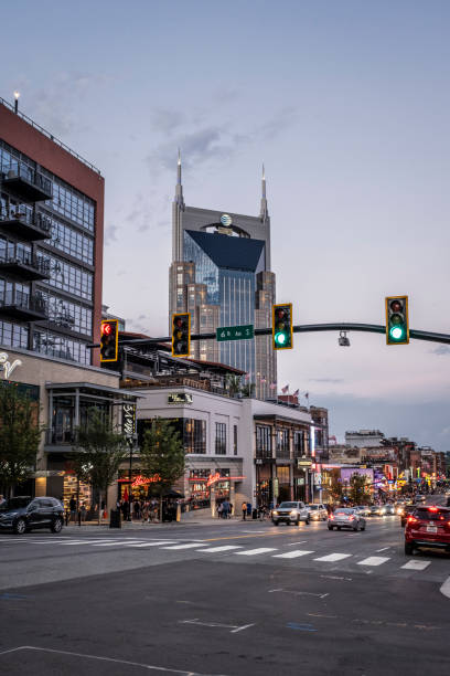 View down Broadway in Nashville stock photo