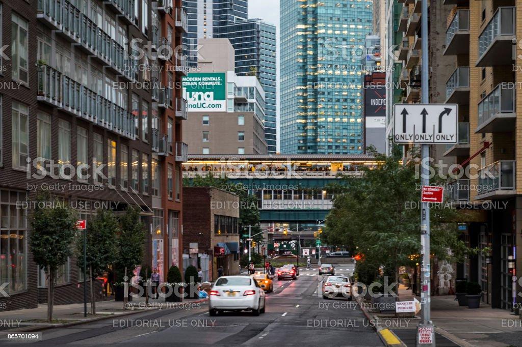 View down Crescent Street to Queensboro Plaza stock photo