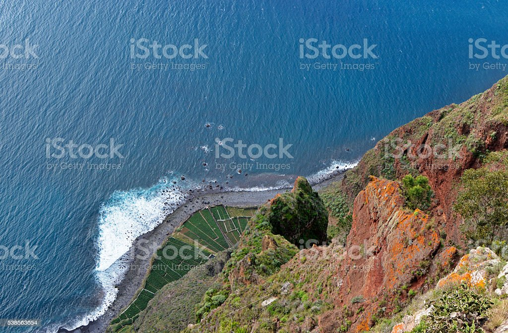 View down from Cabo Girao in Madeira, Portugal stock photo