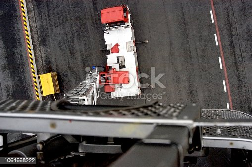 istock View down from hydraulic platform of firefighter truck 1064668222