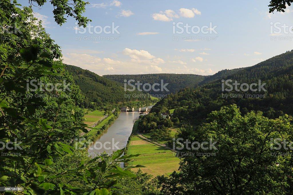 View down from Teufelskanzel of Kranichsberg hill to Neckar weir stock photo