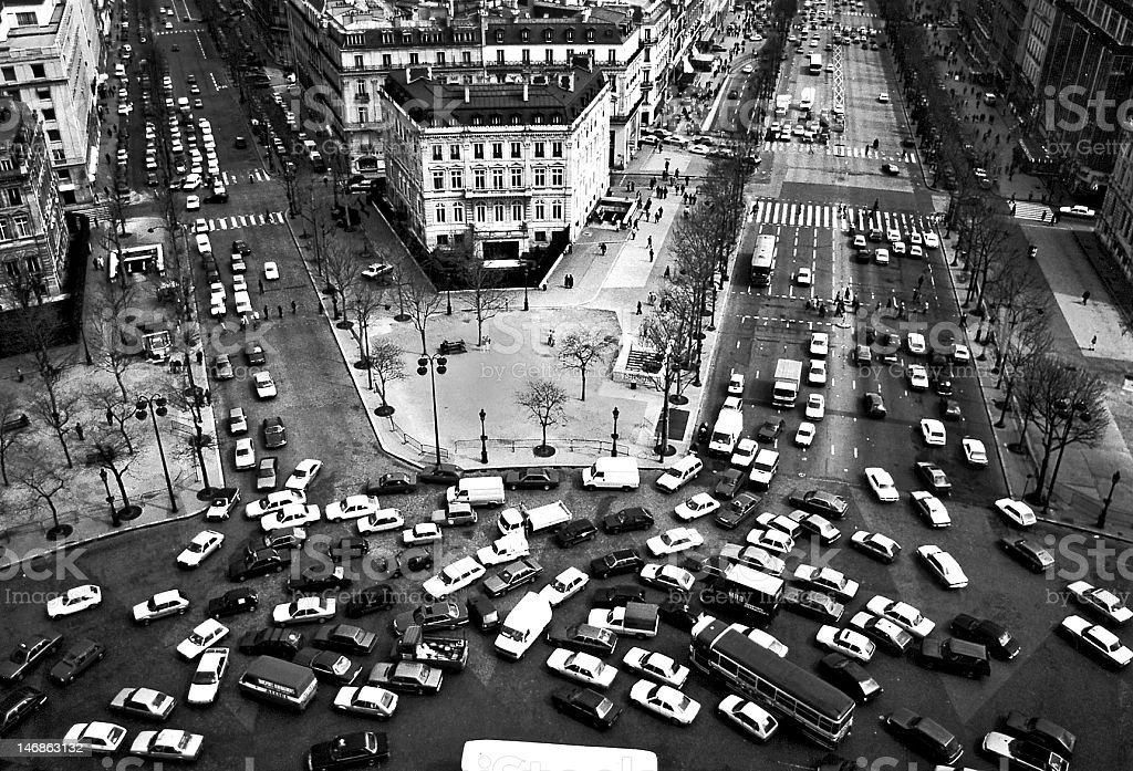 View down from the Arc de Triomphe, Paris stock photo