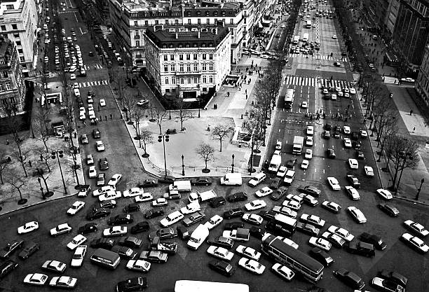 View down from the Arc de Triomphe, Paris stock photo