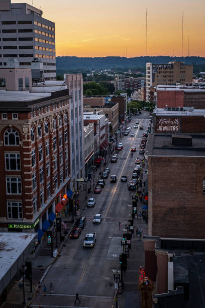 View Down Gay Street in Knoxville from Above stock photo
