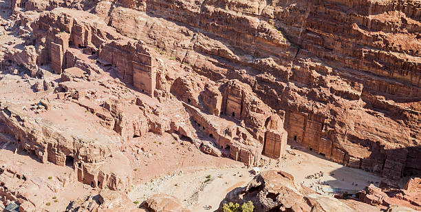 View down High Place of Sacrifice. Petra. Jordan. stock photo