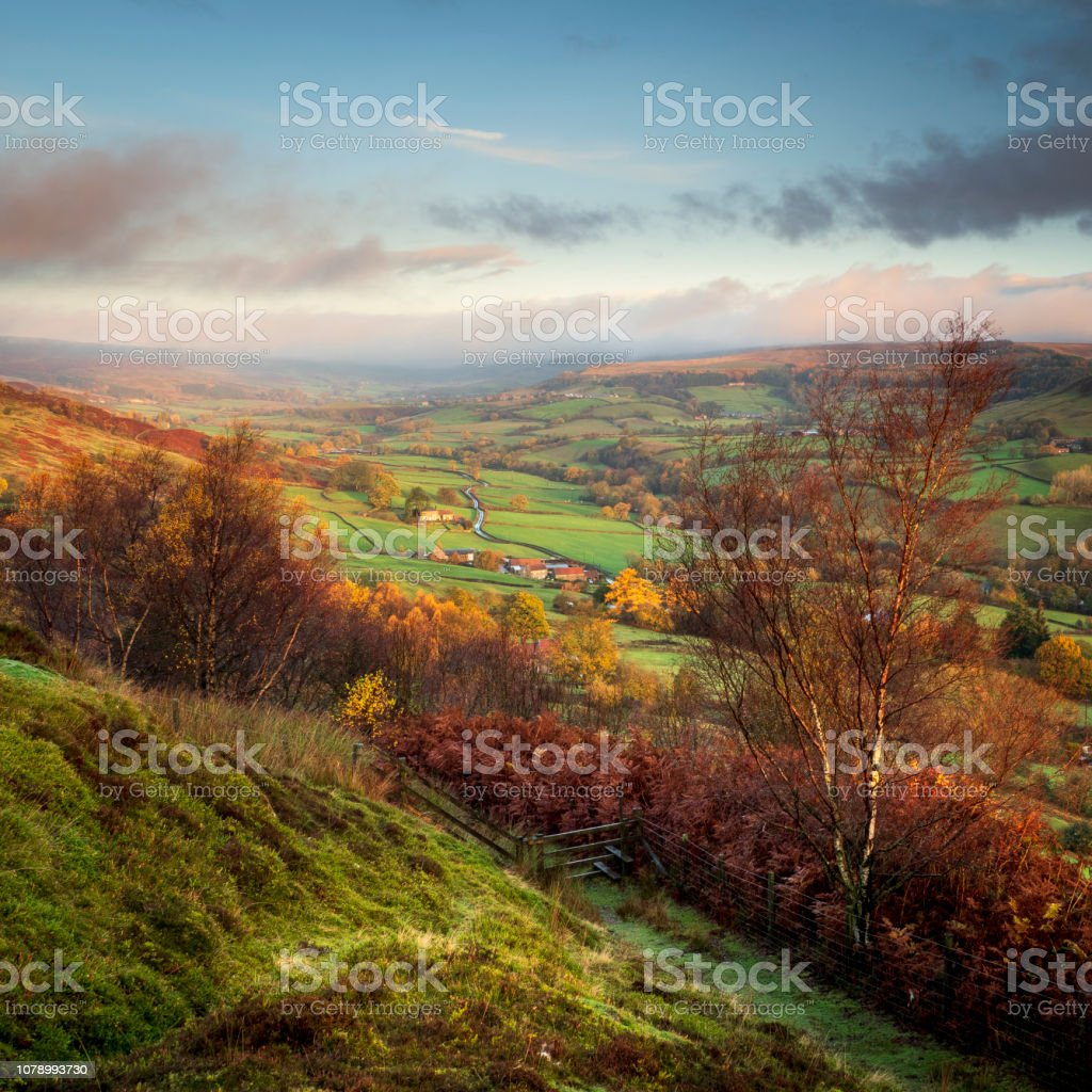 A view down into Rosedale valley in Autumn. stock photo